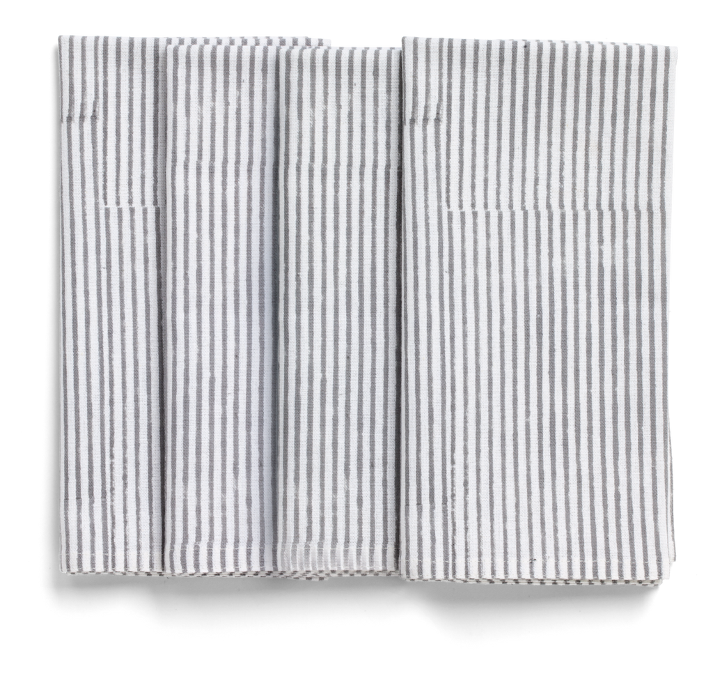 Stripe Napkins in Grey