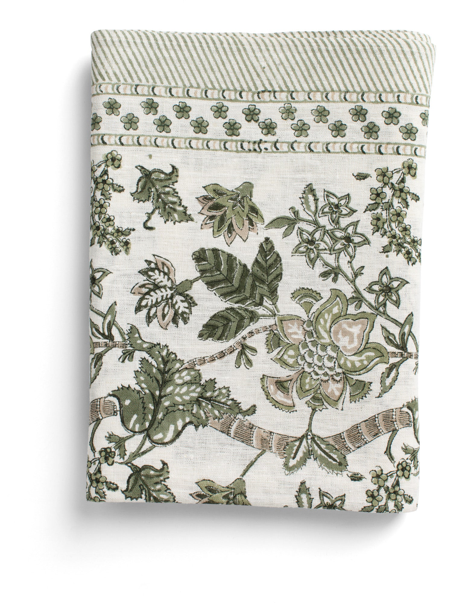 Linen Tablecloth with Floral print in Olive