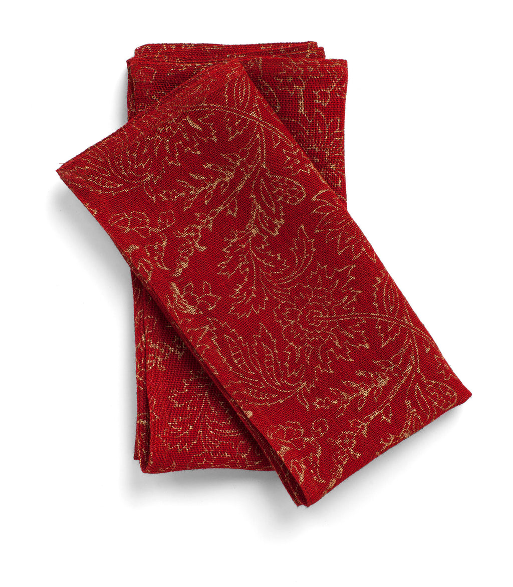 Red linen Napkins with Gold print