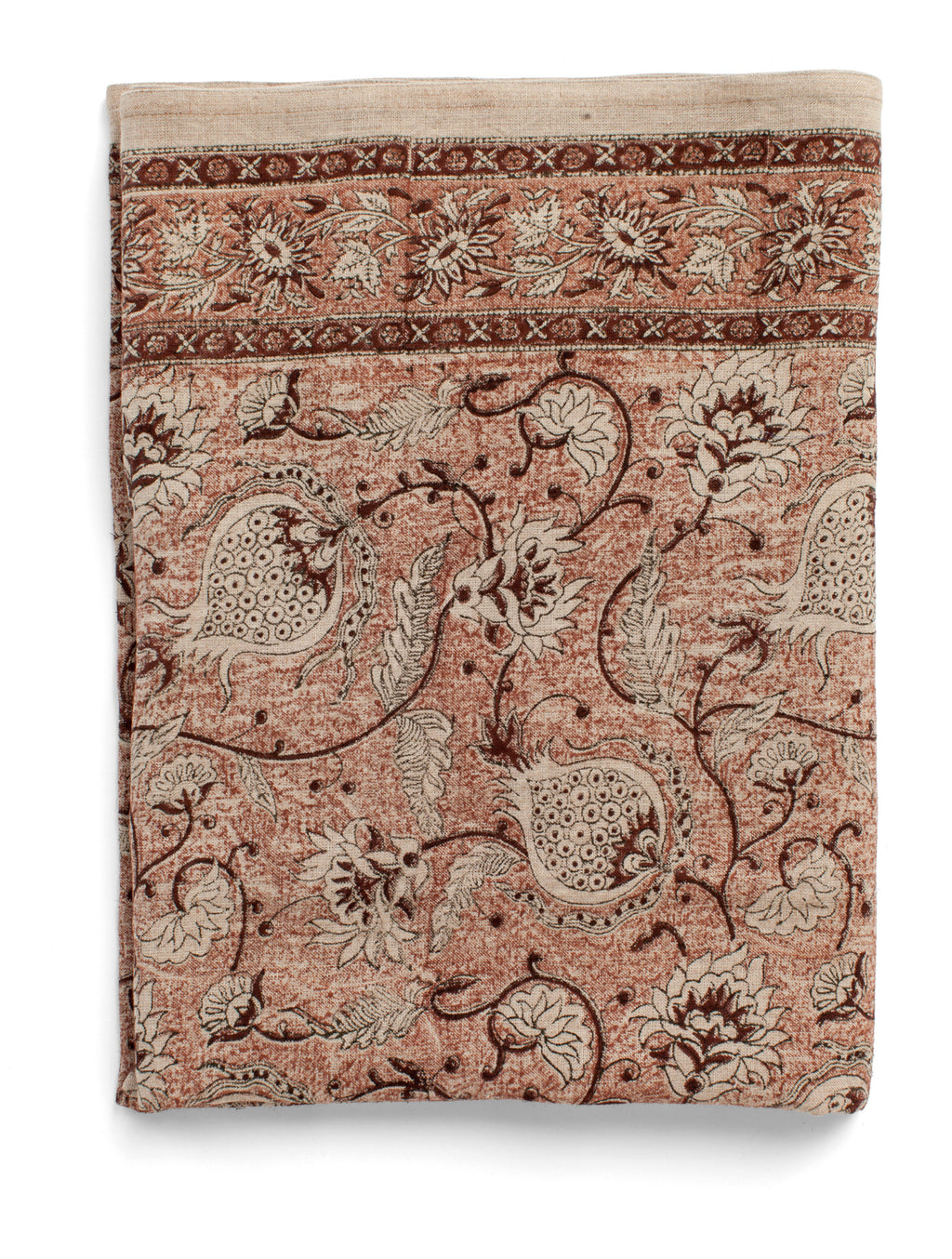 Linen tablecloth with Pomegranate print in Rust