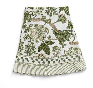 Round Tablecloth with Floral print in Olive