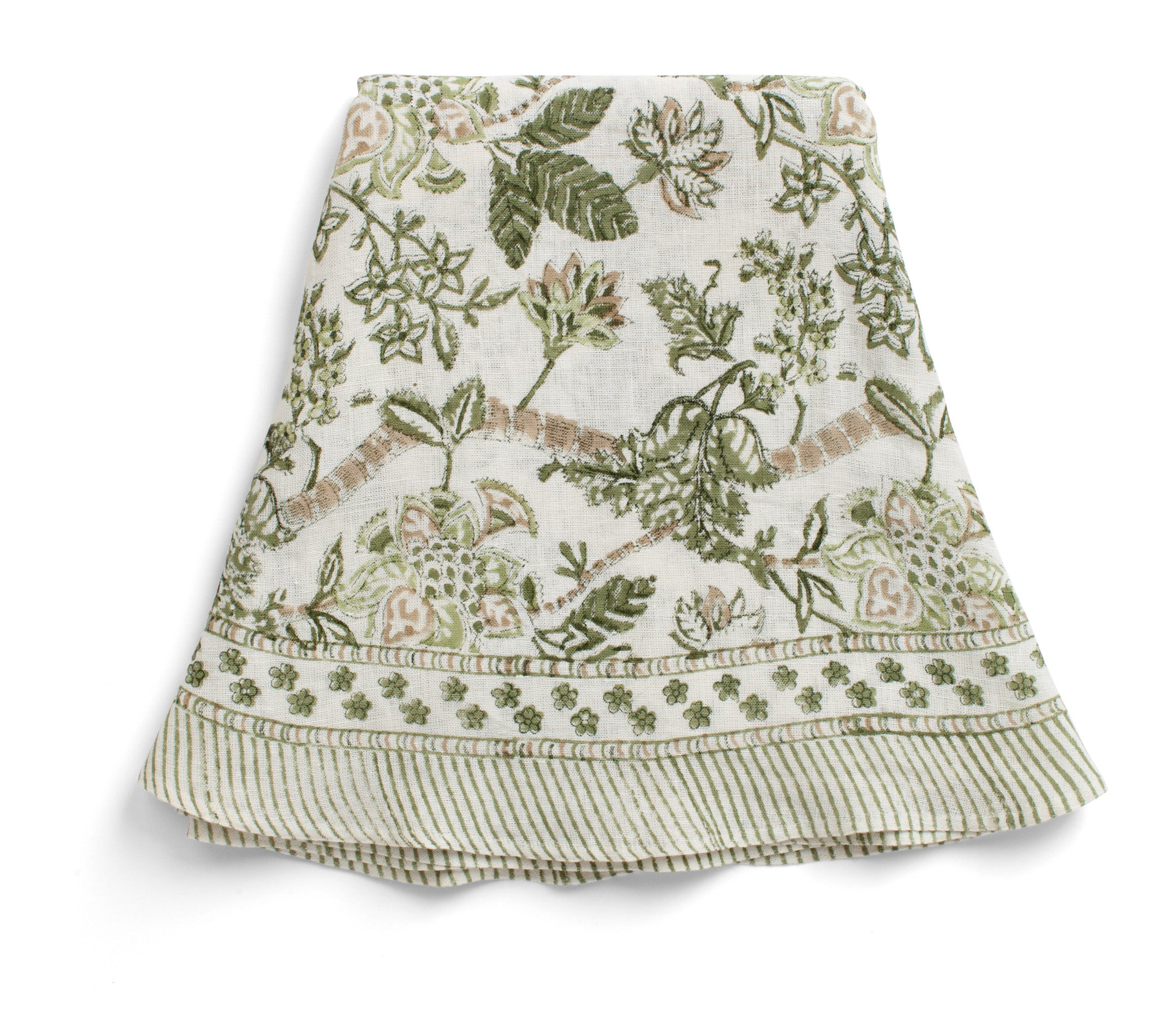 Round Linen Tablecloth with Floral print in Olive