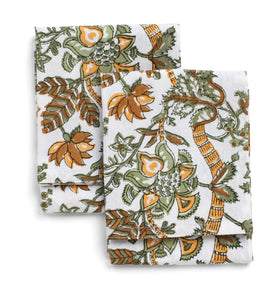 Floral kitchen towels in Ochre