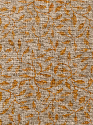Linen Cushion with Leaf print in Ochre
