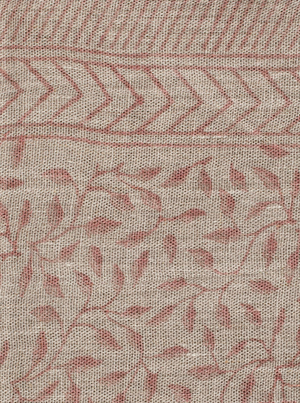 Linen tablecloth with Leaf print in Rose