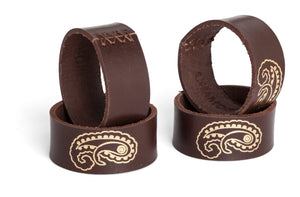 Leather Napkin Rings with Gold paisley