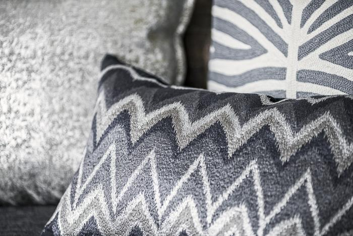 Cushion Cover - Zig Zag Embroidery - Blue