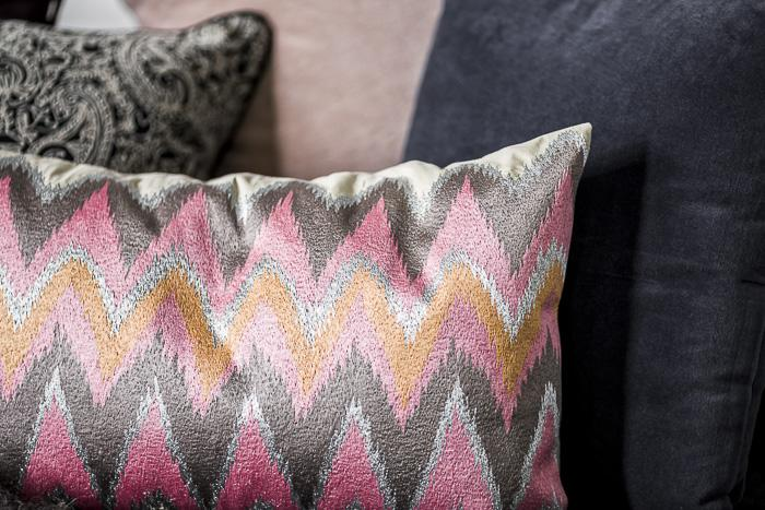 Cushion with Pink Zig Zag Embroidery