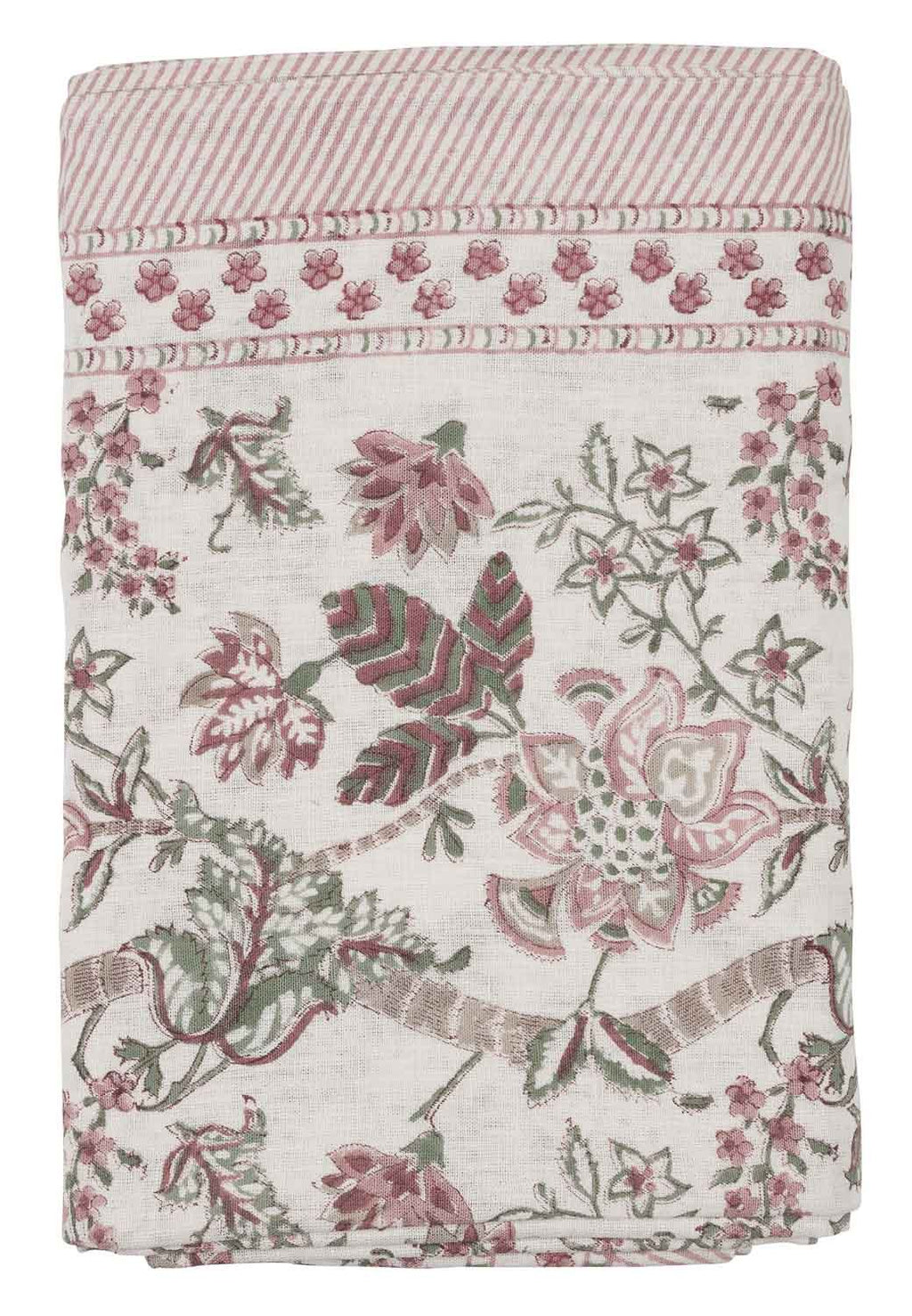 Tablecloth with a hand block printed Floral pattern in Ruby colour