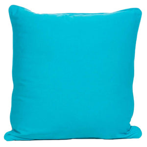 Back of Zebra cushion in turquoise color