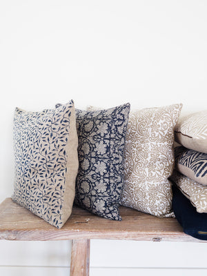 Linen Cushion with Leaf print