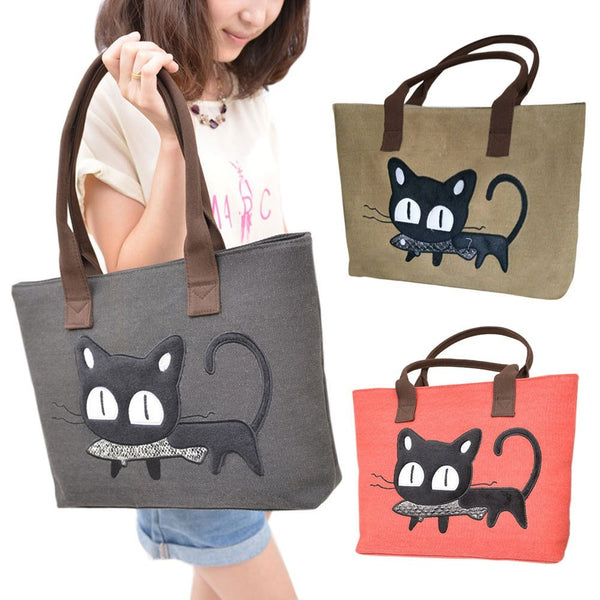 Casual Cartoon Cat Canvas Shoulder Shopping Bag