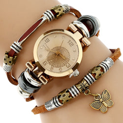 NEW Women Genuine Leather Butterfly Watch Triple Bracelet