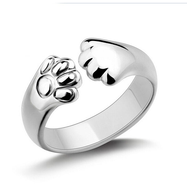 Crystal Silver Plated Cat Claw Ring