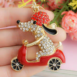 2016 Lovely Dog on Motorcycle Keychain/Car ring Holder/Bag with Crystal Rhinestone