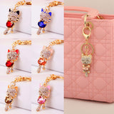 Gold Plated Crystal Rhinestone Charm Cat's Key Chain for Phone/Car/Bag