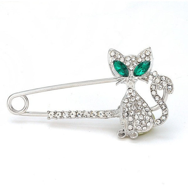 Gold Silver Rhinestone Crystal Green-eyes Cat Brooch Pin