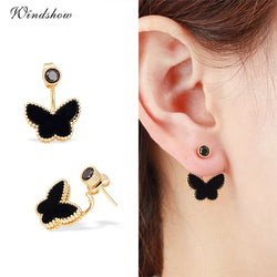 Gold & Black Butterfly Stud Earrings For Women Girls