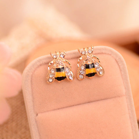 Cute Lovely Golden Crystal Small Bee Earring for Women