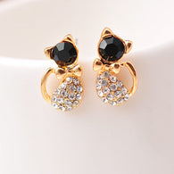 Elegant Cute Black Bow Cat with Gold Color Rhinestone Crystal Earrings