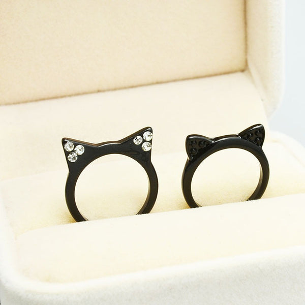 New Fashion Cute Black Cat Ears Ring