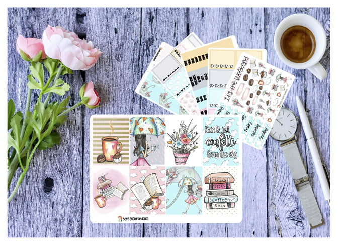 Rainy Day // Weekly Sticker Kit for ECLP Vertical and Happy Planner // Planner Stickers