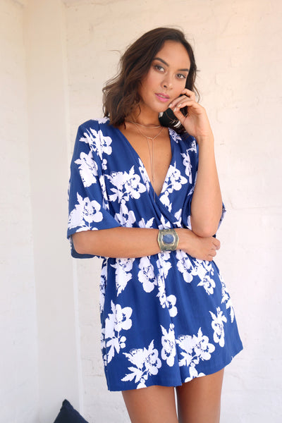 Monica Romper - Style floral navy