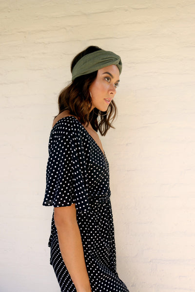 Tara Jumpsuit - Black Polka Dot