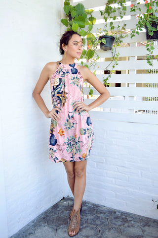 Paloma Mini Dress - Dusty Pink Tropical