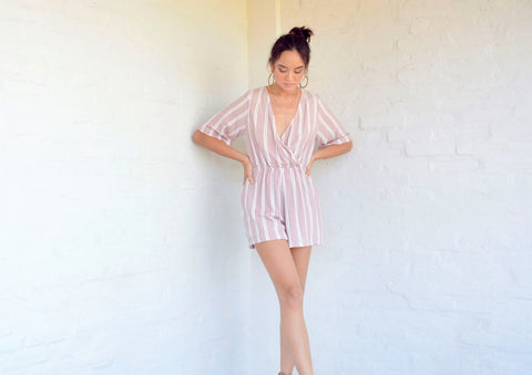 Monica Romper - Blush Pink Stripe