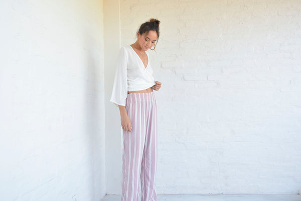 Nautical Pants - Blush Pink Stripe