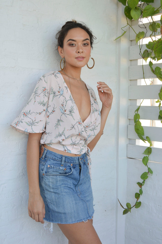 Willow wrap Top - Botanical Birds Peach