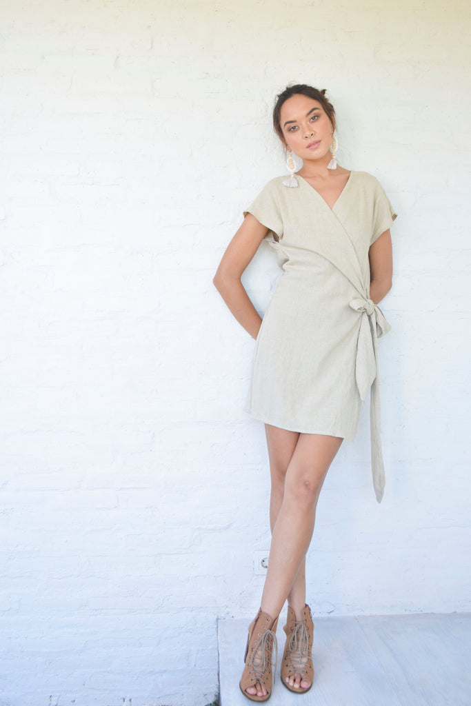 Chiara Wrap Dress - Natural Linen