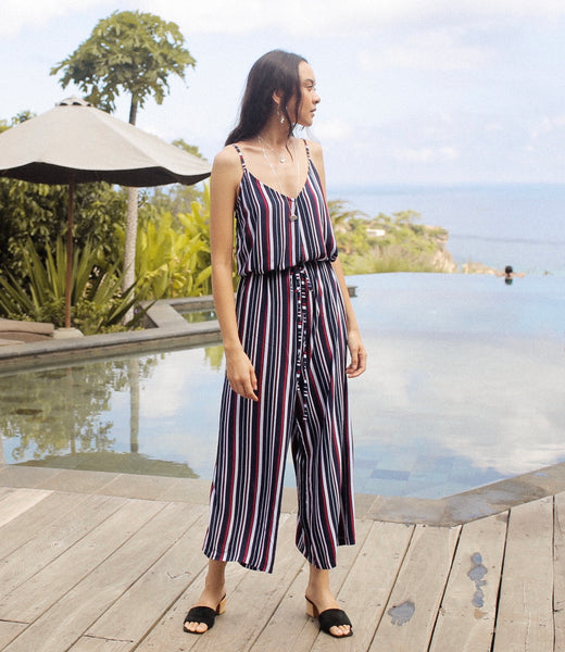 Frannie Jumpsuit - Navy Red Stripe