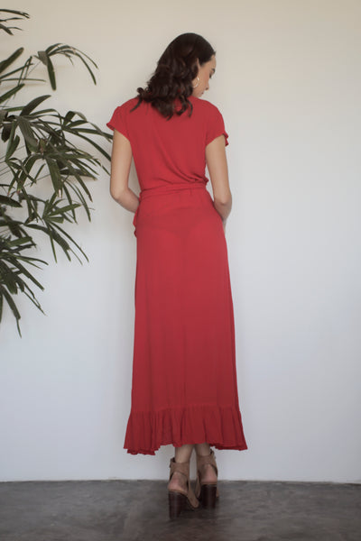 Midi Wrap Dress - Rust Red