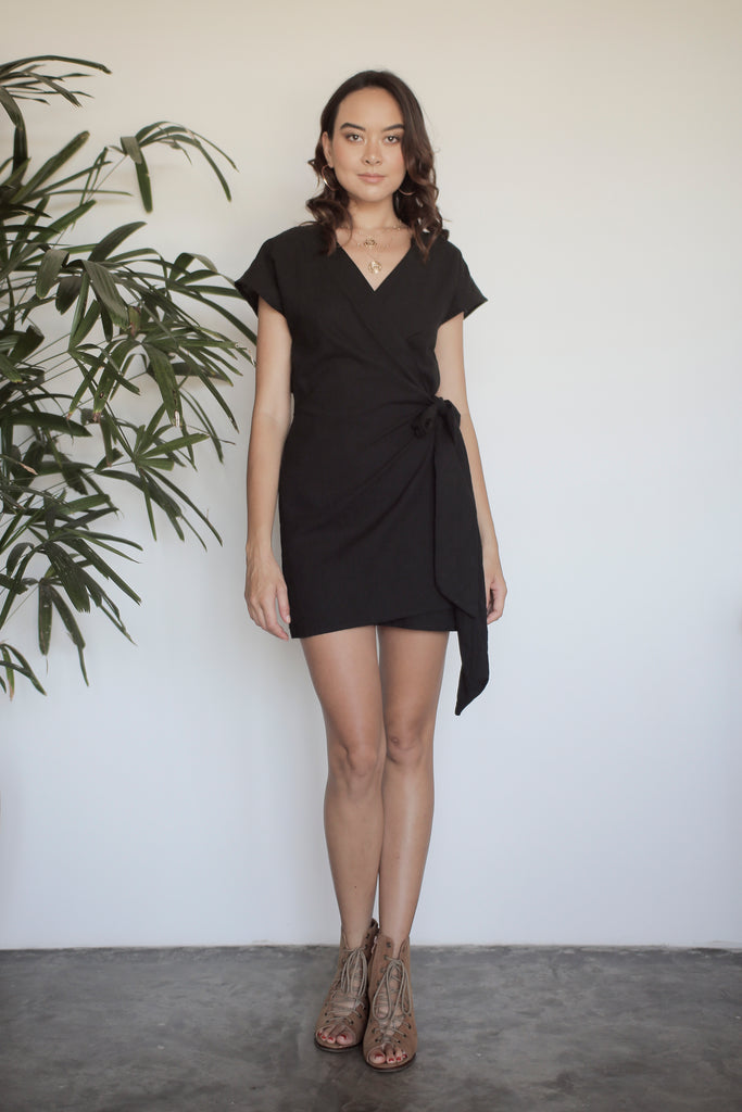 Chiara Wrap Dress - Black Linen