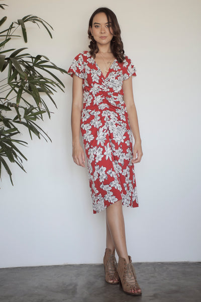 Mahalia Ruched Midi Dress - Blossom Floral Red