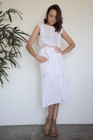 Zamira Lace Panel Dress - White