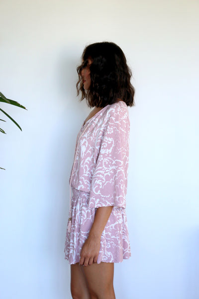 Tracie Mini Dress - Blush Ikat