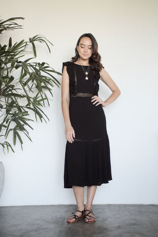 Zamira Lace Panel Dress - Black
