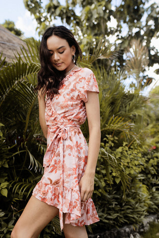 Short Wrap Dress - Peach Botanical Print