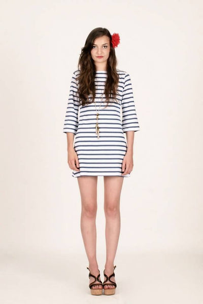 Palm Beach Dress - Navy Stripes