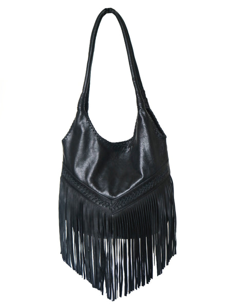 Fringed Hobo Slouch  Leather Bag - Black