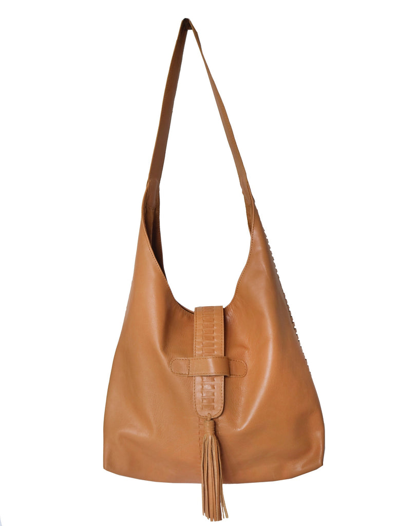 Slouch Hobo Leather Bag with Braiding - Tan