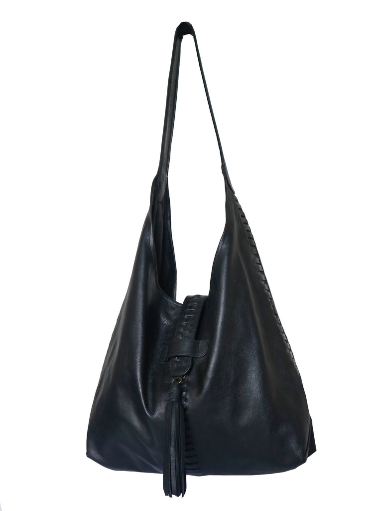 Slouch Hobo Leather Bag with Braiding - B;ack