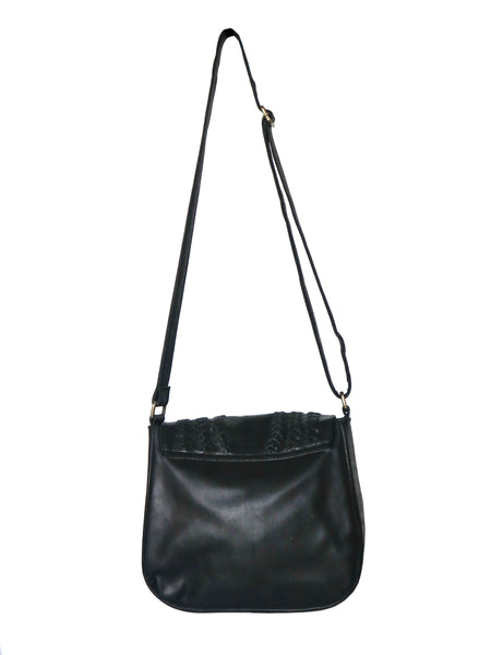 Vintage 70s Leather Saddle Bag - Black
