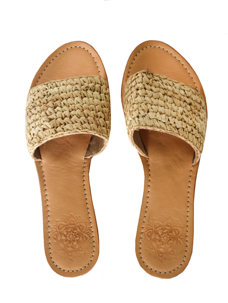 Raffia Slides - Natural