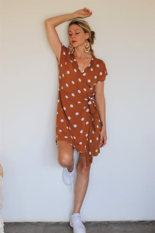 Chiara Wrap Dress - Brick Polka Dot
