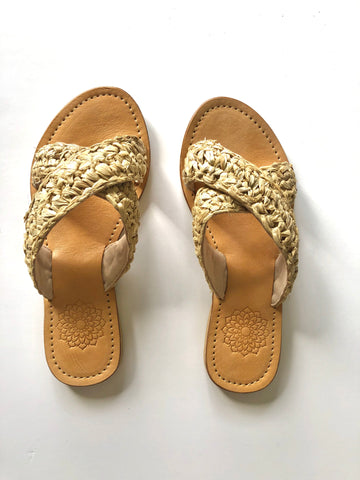 Raffia Slides Criss Cross - Natural