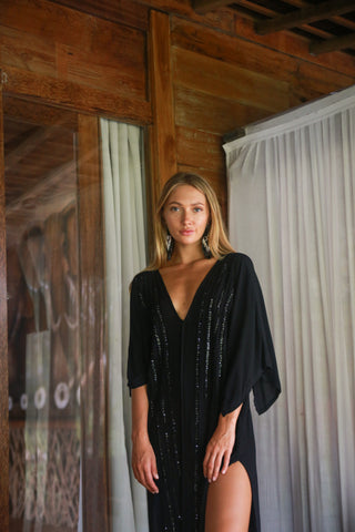 Capri sequin kaftan - Black